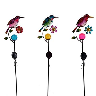 Solar-powered Metal And Color Glass Bird Garden Stake, Yard Outdoor Art Décor