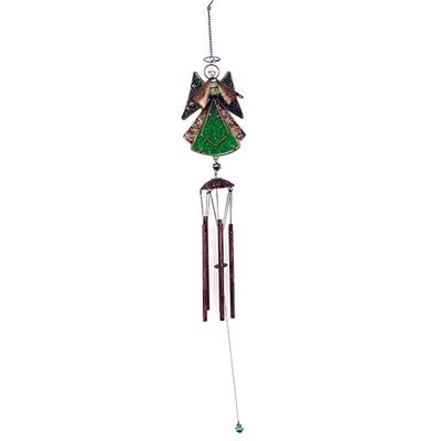 Metal Color Glass Angle Wind Chimes Stained Ornament Outdoor Hanging Christmas