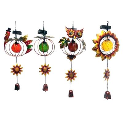 Metal Glass Autumn Harvest Wind Chimes Stained Ornament Outdoor Hanging