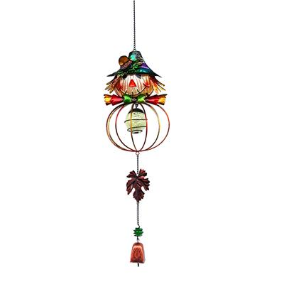 Metal Glass Scarecrow Wind Chimes Stained Ornament Outdoor Hanging Autumn Harvest