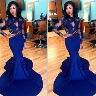 Royal Blue Mermaid Prom Dresses 2016 Long Sleeves Lace Sexy Evening Gowns