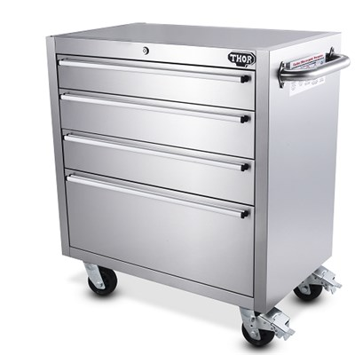 Portable Workshop Mobile 4 Drawer Stainless Steel Toolbox Cabinets