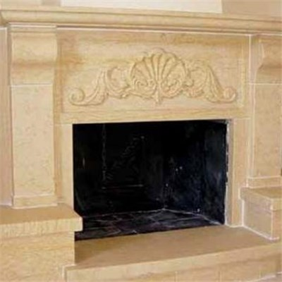 Italian Beige Travertine Fireplace Surround Mantels