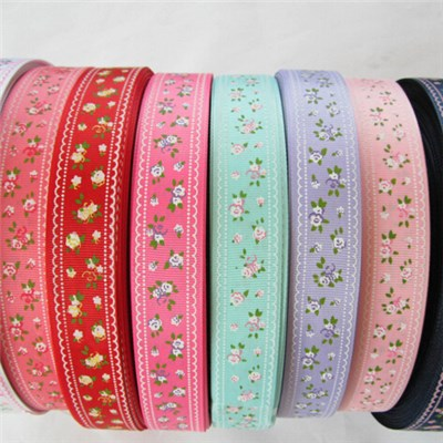 DIY Printed Multicolor Flower Pattern Ribbon Lot U Pick