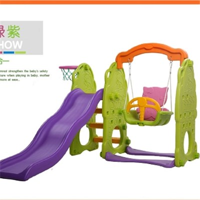 Kids Plastic Single Garden Swing And Slide Combination