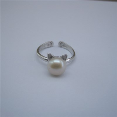 Cute Cat Freshwater Pearl Party Rings Accessory SSR026