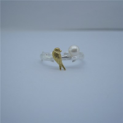 Bird Freshwater Pearl Engagement Rings Jewelry SSR025