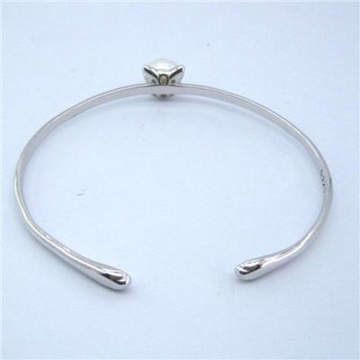 Natural Freshwater Pearls Cat Charm Silver Bangles SSB005
