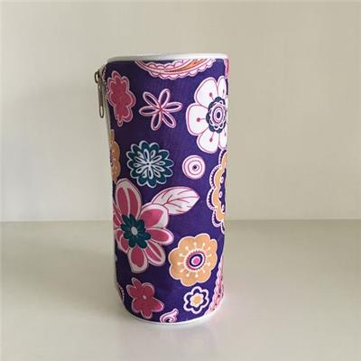 Flower Printed Round Single Layer Pencil Case Bag