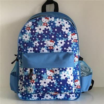 Blue Hello Kitty And Flowers Printed Schoolbag