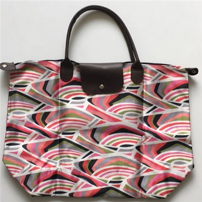 Zebra Colorful Printed Polyester Foldable Large Size Shopping Bag With Clip Closure