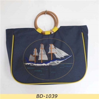 Embossed Sailing Boat 600D Polyester Beach Tote Bag