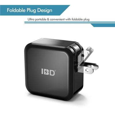 IBD US/EU Plug Wall Charger Power Adapter 5V 2.4A  Dual Port USB Home Travel Charger