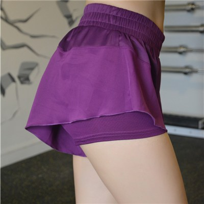 Flounced 2 Tones Sport Short Pants