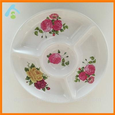 Print Melamine Tray With 4 Cpmpartments