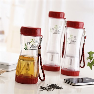 0.5L Single Wall Plastic Tea Infuser Water Bottle Manufacturer