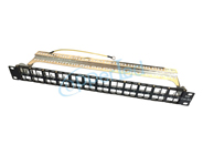 FTP 1U Cat.6A Empty Patch Panel 48Port With Back Bar