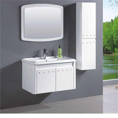 Double Basin Standed Floor White Painted PVC Bathroom Vanity With Mirror