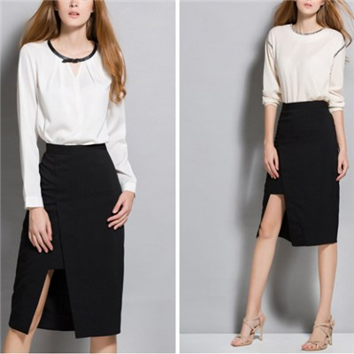 Black Special Diagonal Split Design Knee-length Skirt