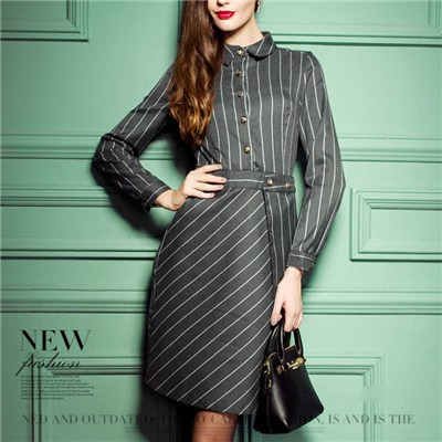 Short Point Collar Button Placket Vertical And Diagonal Stripes Grey Nice Dress