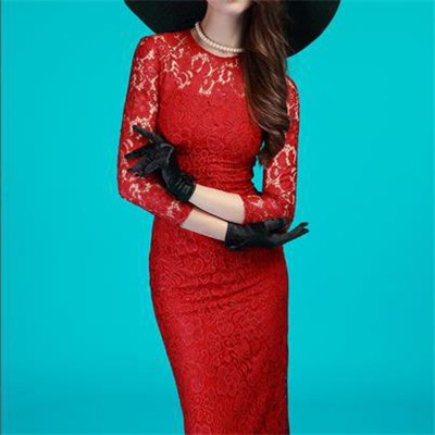 Sexy Round Neck Long Sleeve Lace Full Lining Slim Fit Dress