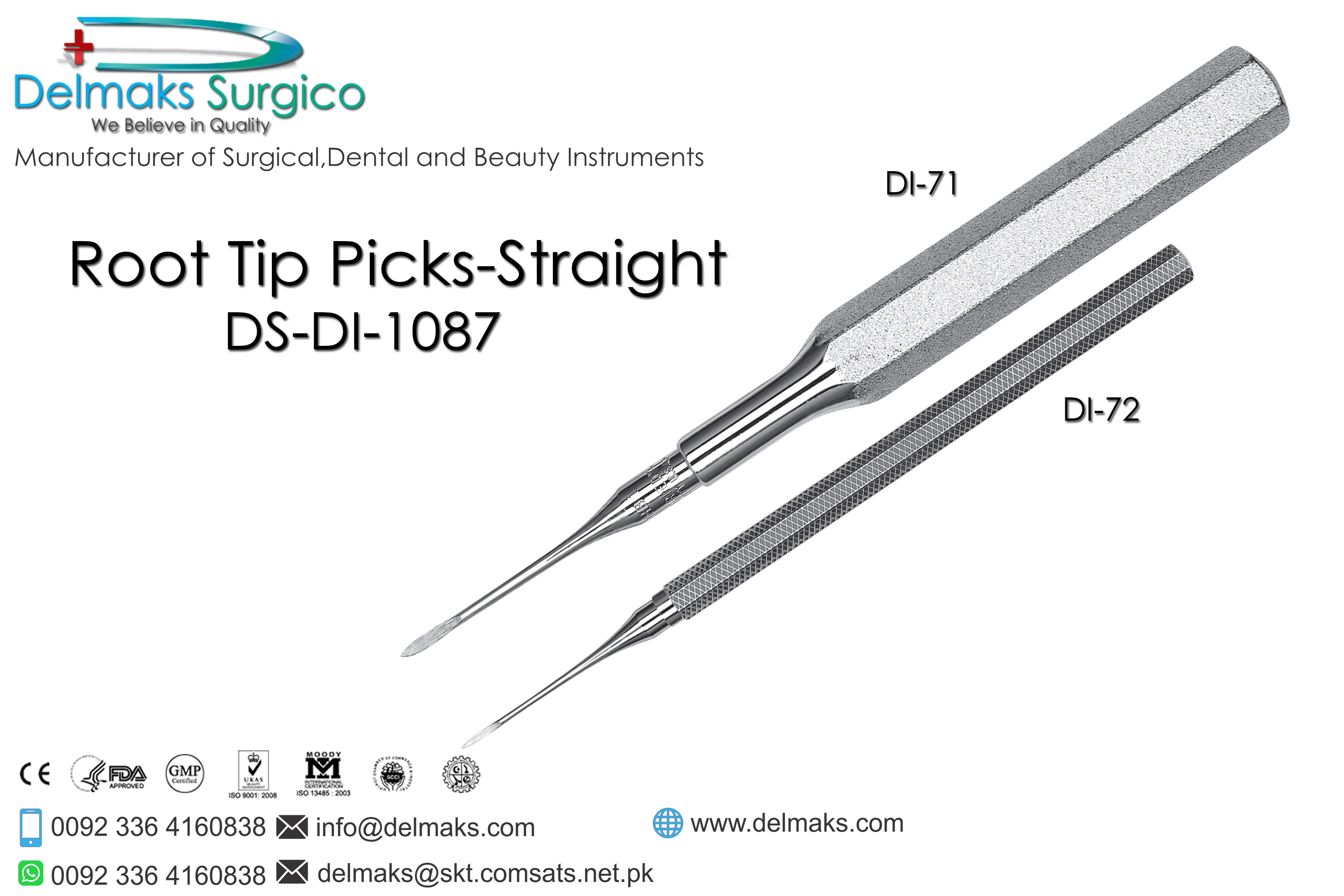 Root Tip Picks Straight-Oral And Maxillofacial Surgery Instruments-Dental Instruments-Delmaks Surgico