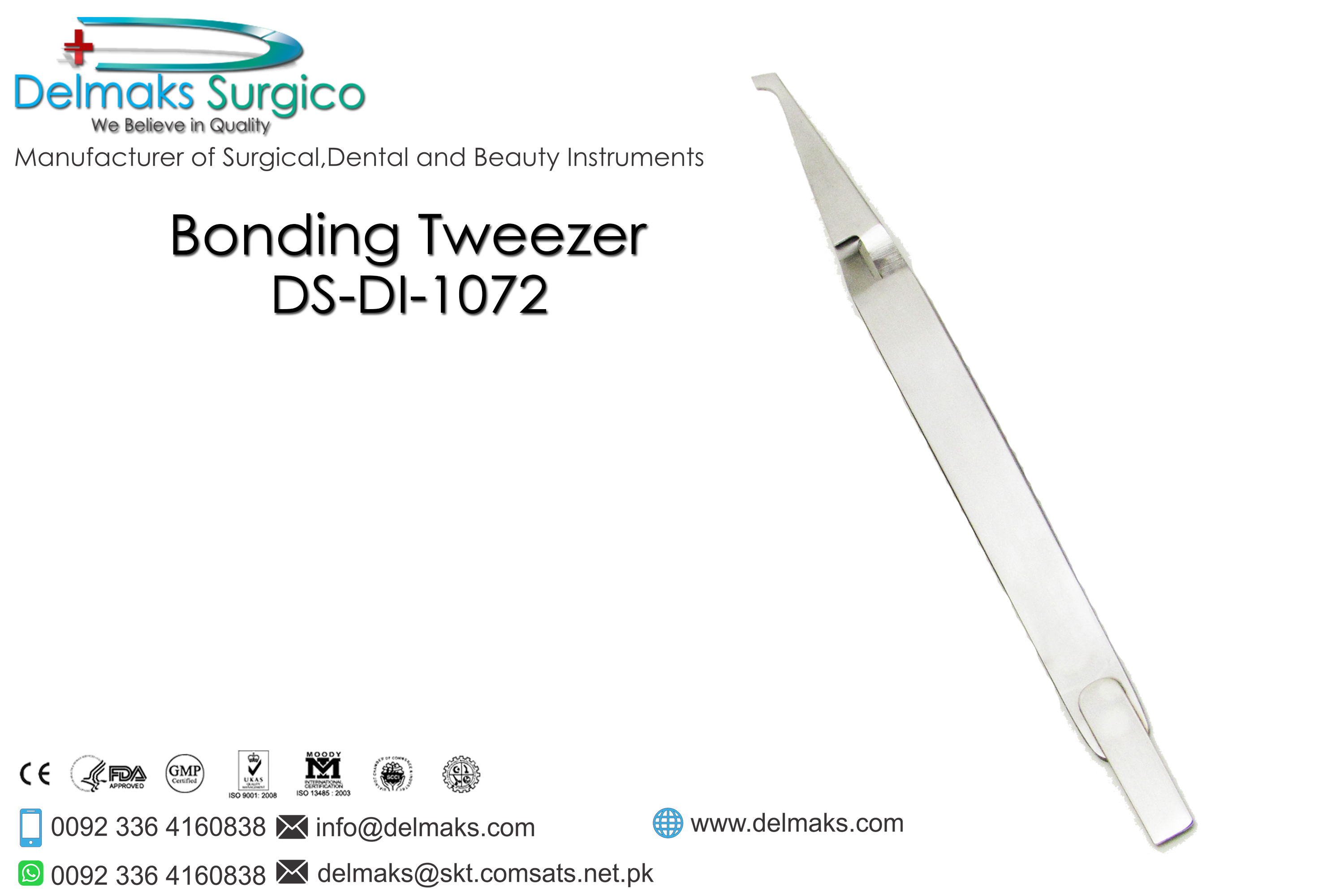 Bonding Tweezer-Bracket Tweezers-Orthodontics-Dental Instruments-Delmaks Surgico