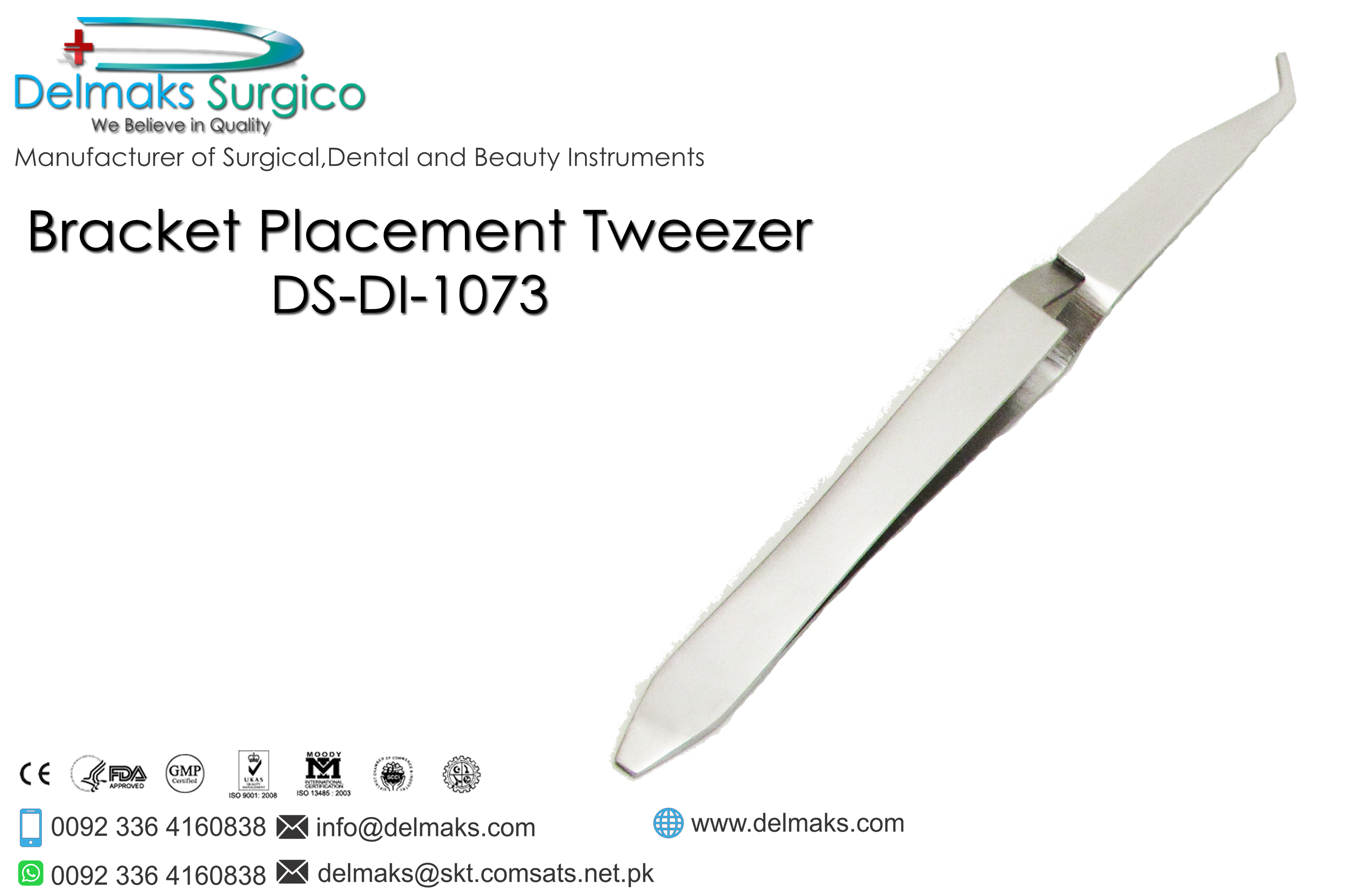 Bracket Placement Tweezer-Bracket Tweezers-Orthodontics-Dental Instruments-Delmaks Surgico