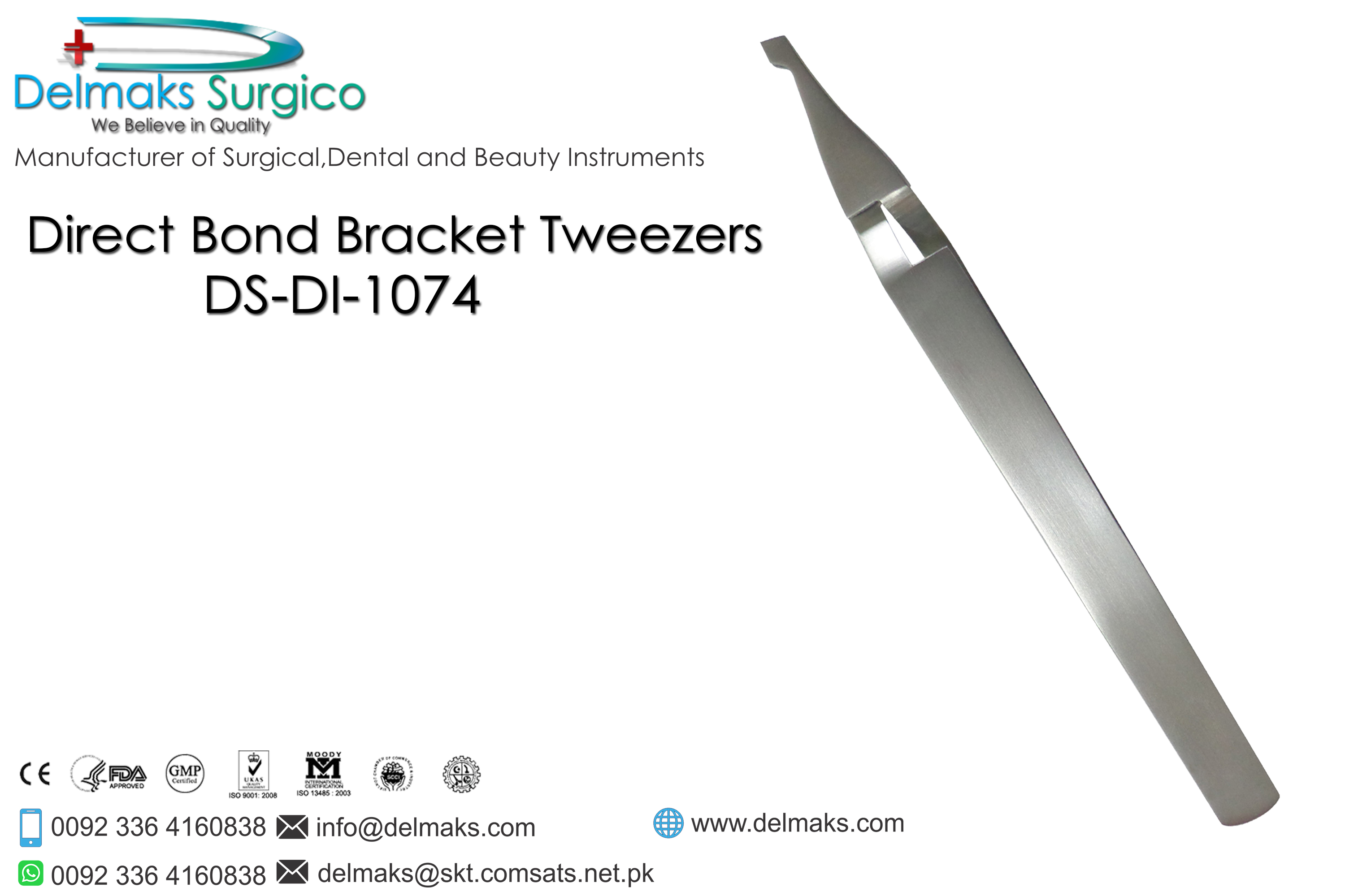 Direct Bond Bracket Tweezer-Bracket Tweezers-Orthodontics-Dental Instruments-Delmaks Surgico