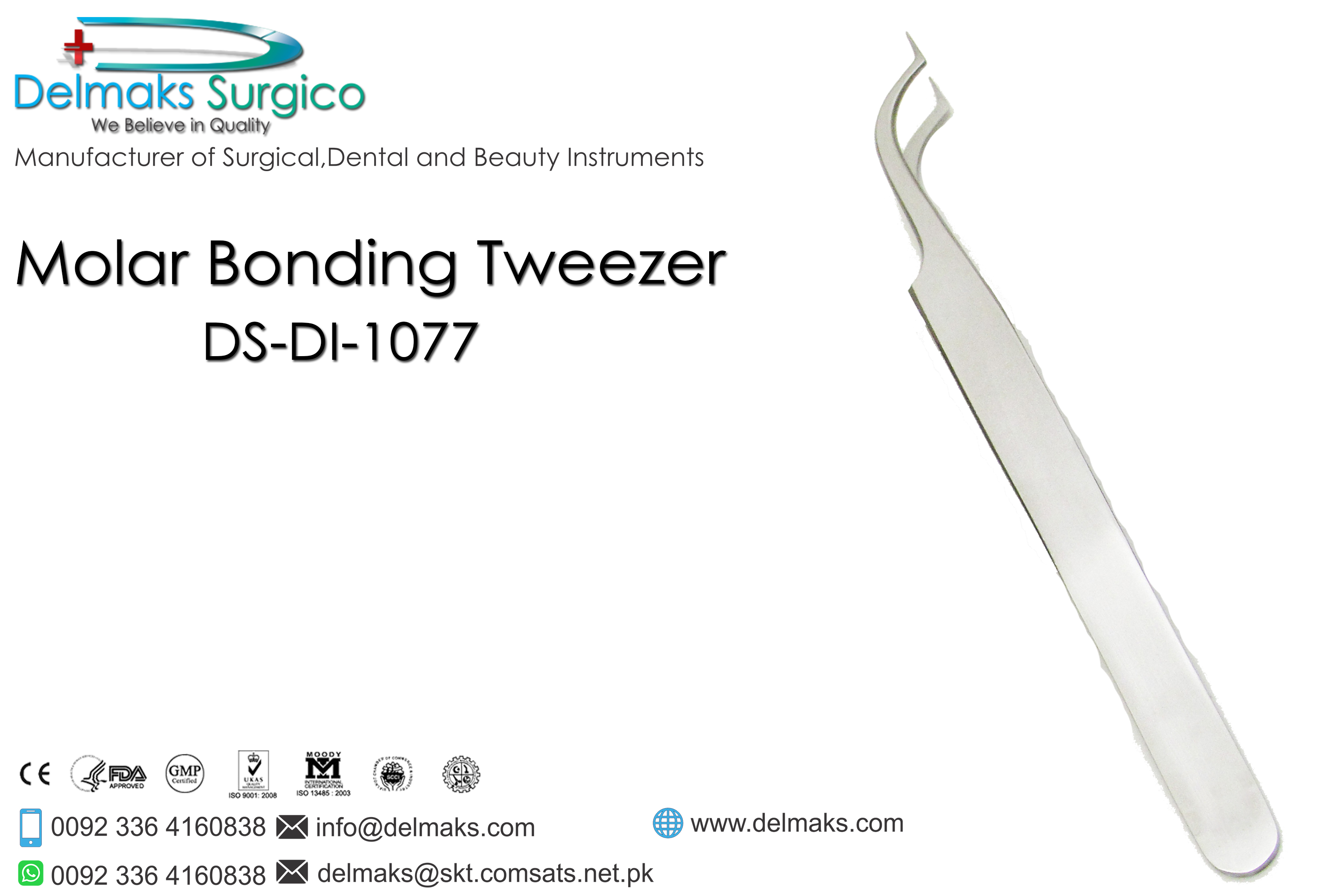 Molar Bonding Tweezer-Bracket Tweezers-Orthodontics-Dental Instruments-Delmaks Surgico