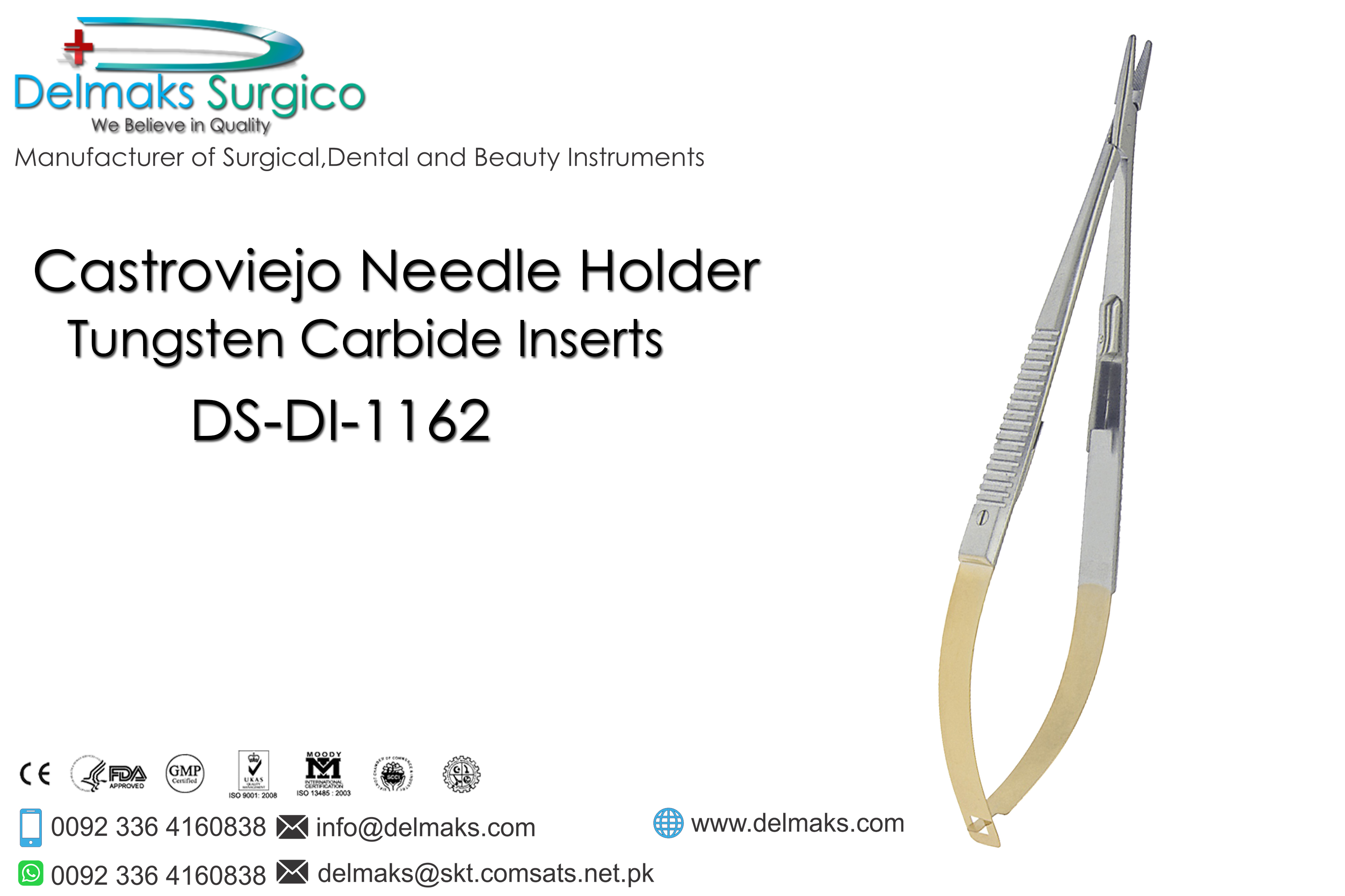 Castroviejo Needle Holder-Needle Holders-Dental Instruments-Delmaks Surgico