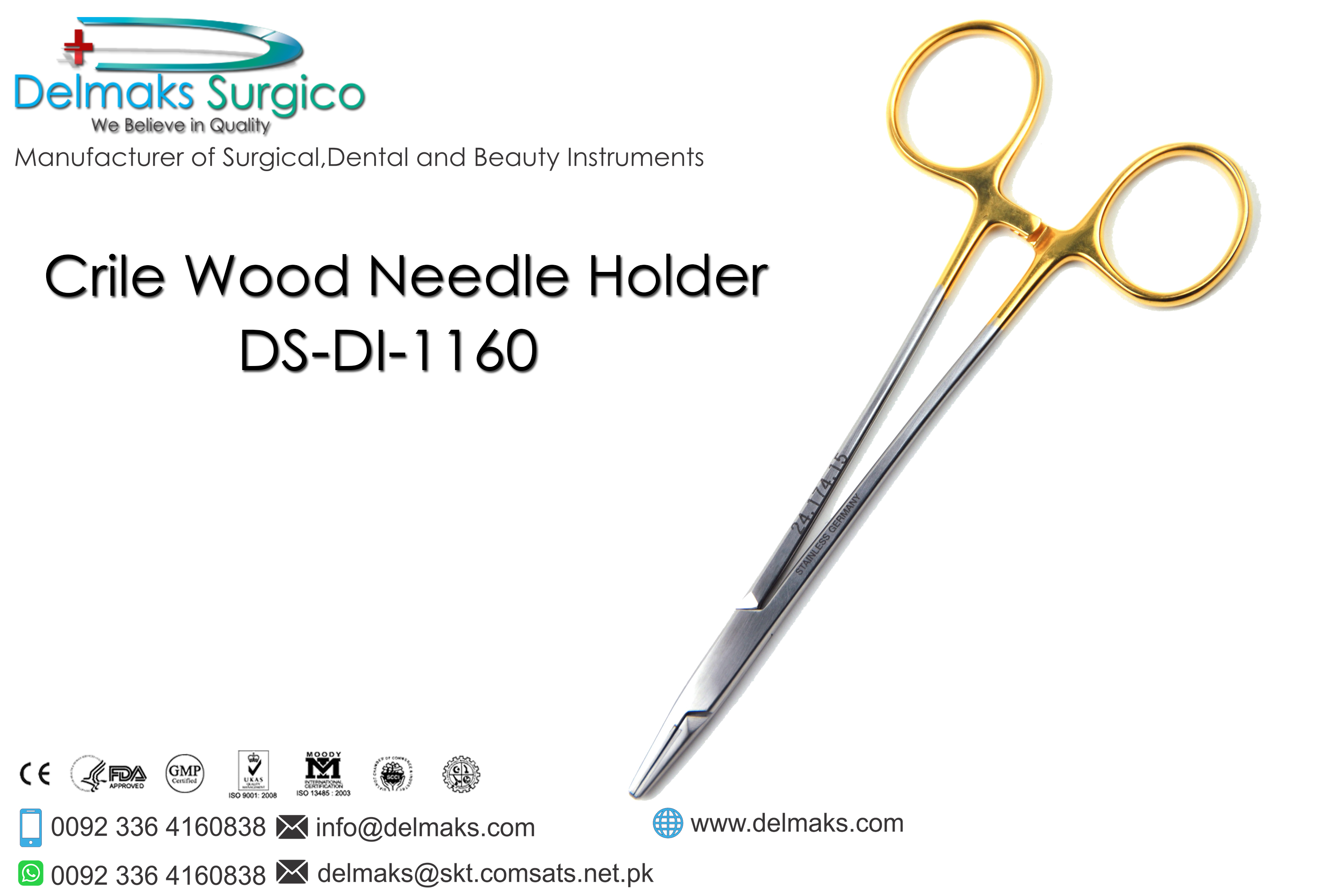 Crile Wood Needle Holder-Needle Holders-Dental Instruments-Delmaks Surgico