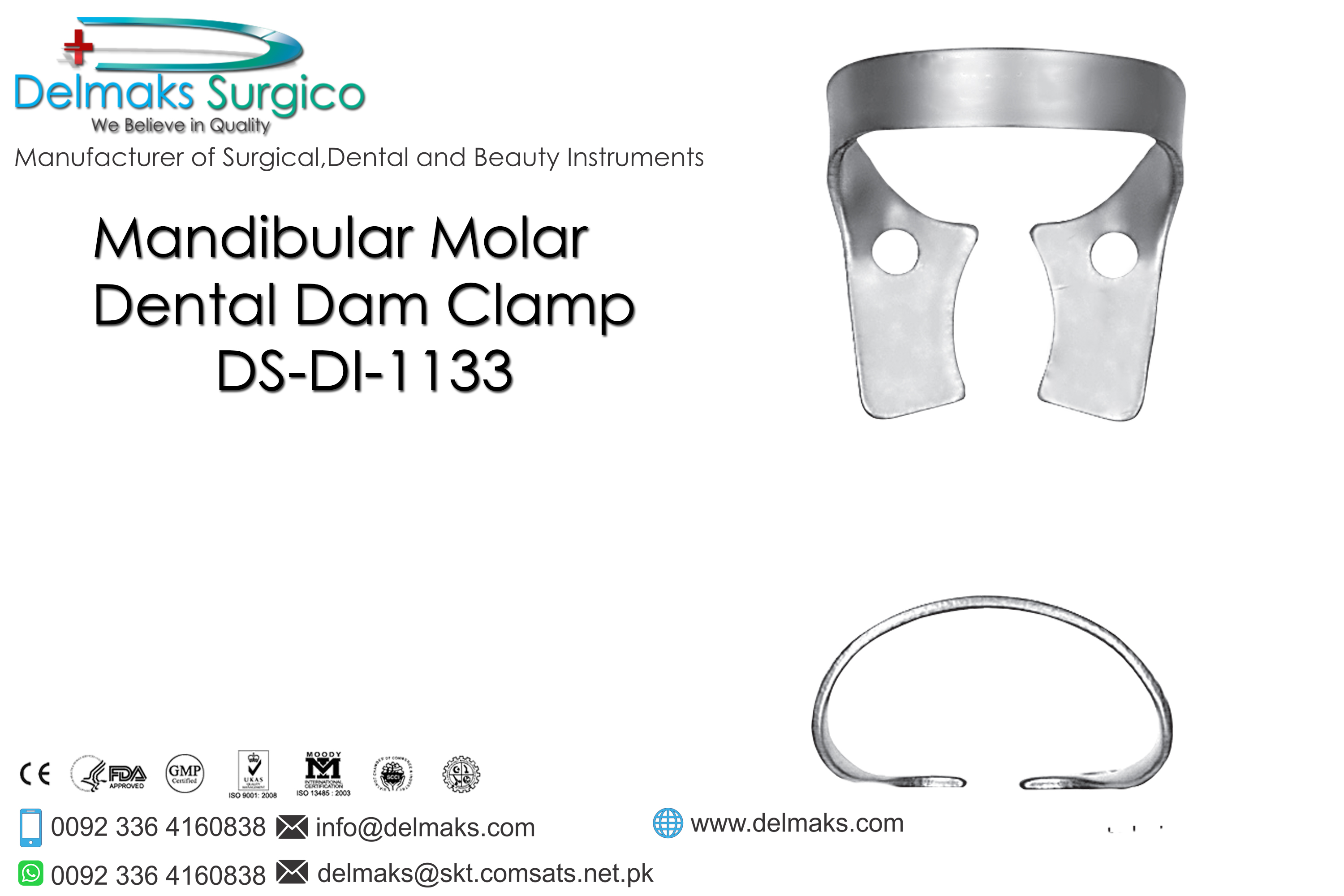 Mandibular Molar-Dental Dam Instruments-Dental Instruments-Delmaks Surgico
