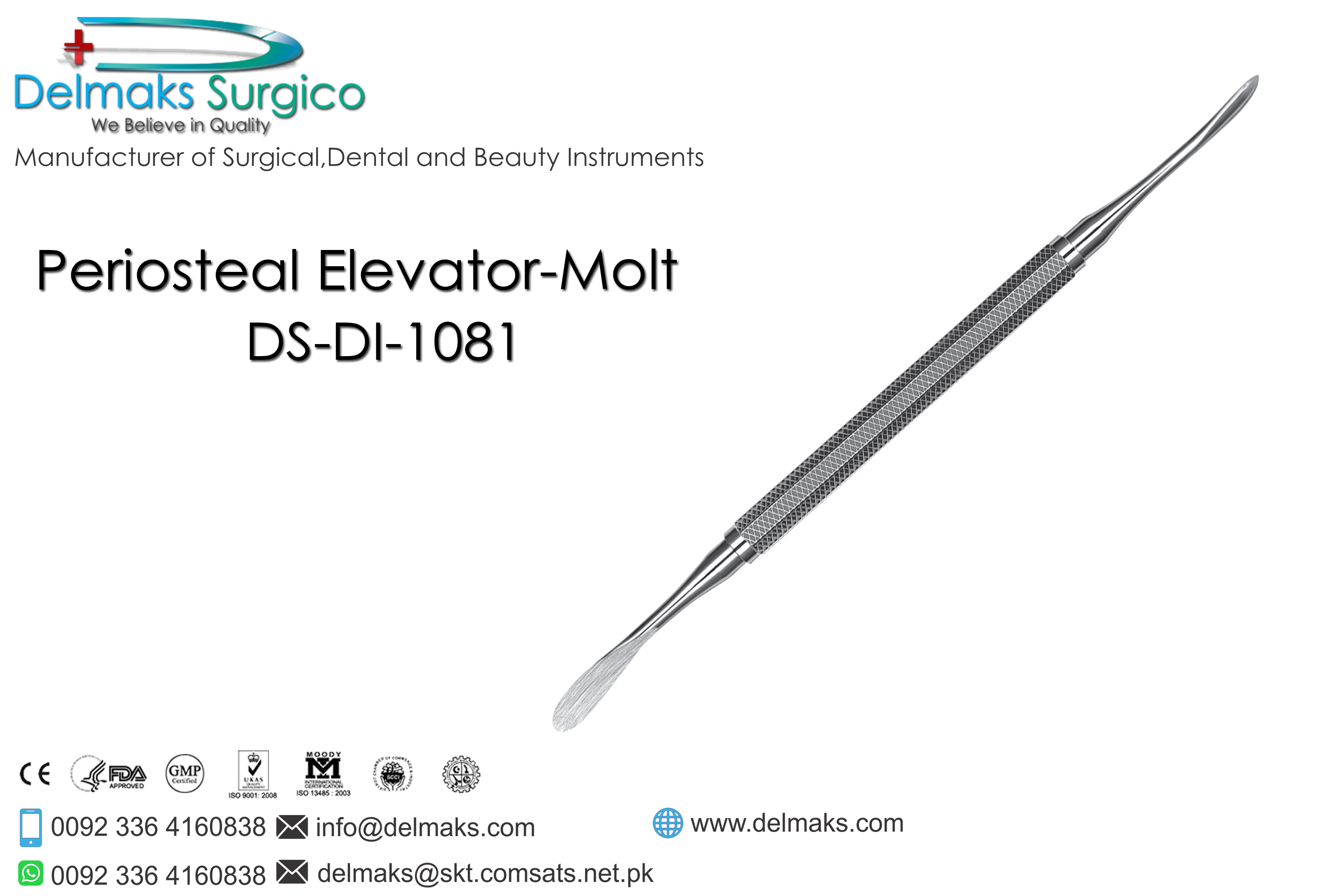 Periosteal Elevator Molt-Oral And Maxillofacial Surgery Instruments-Dental Instruments-Delmaks Surgico