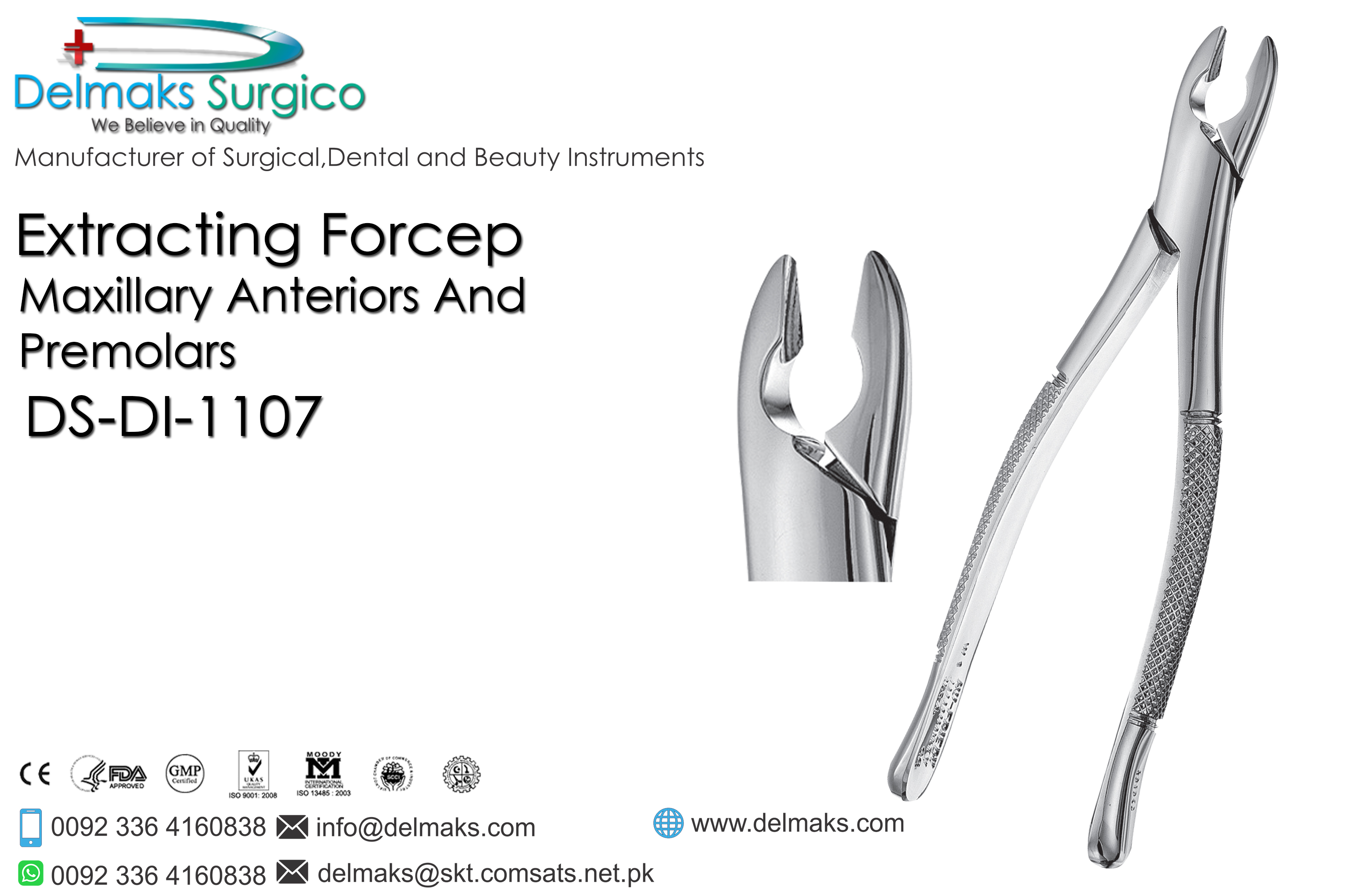 Extracting Forcep (Maxillary Anteriors And Premolars)-Oral and Maxillofacial Surgery Instruments-Dental Instruments-Delmaks Surgico