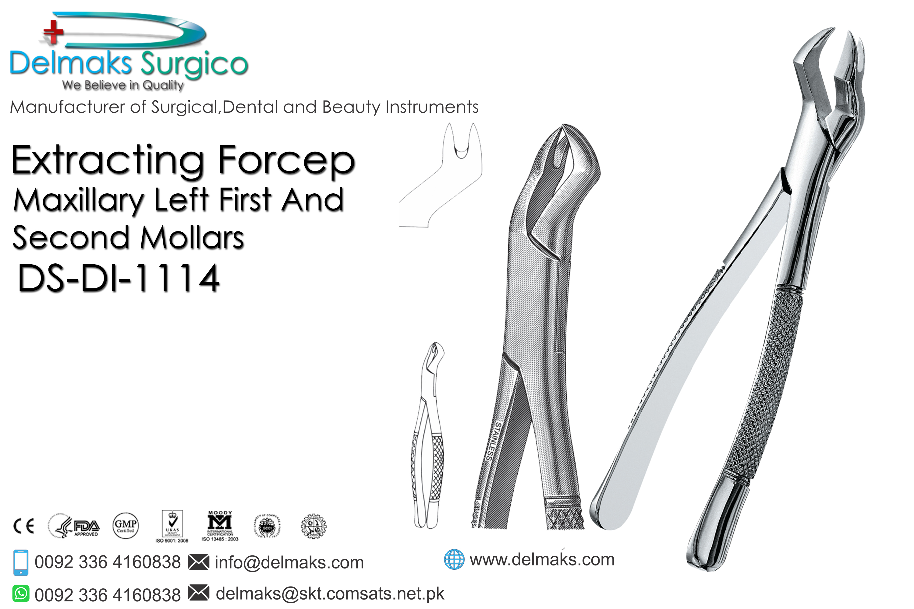 Extracting Forceps (Maxillary Left First And Second Mollars)-Oral and Maxillofacial Surgery Instruments-Dental Instruments-Delmaks Surgico