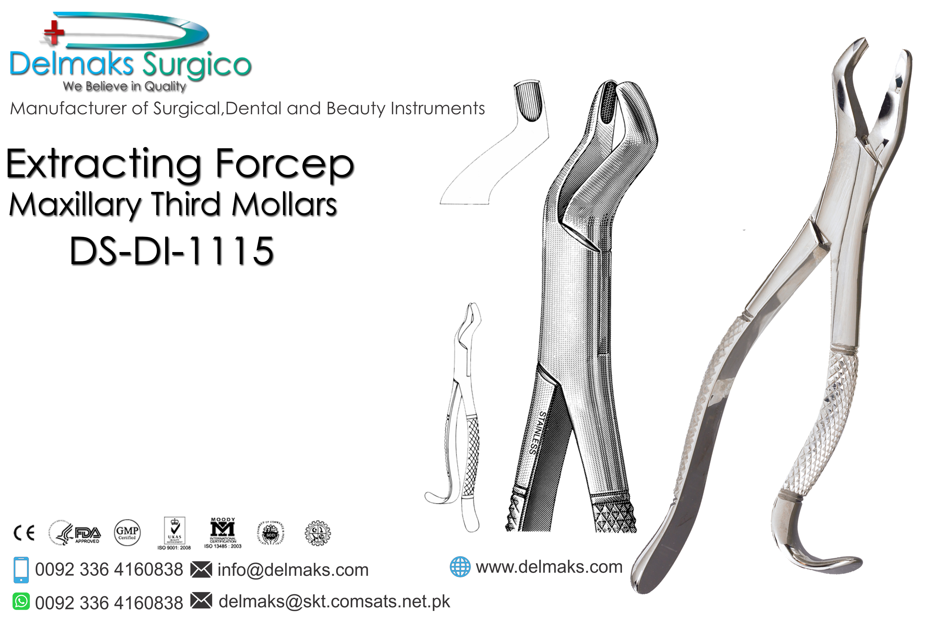 Extracting Forceps (Maxillary Third Mollars)-Oral and Maxillofacial Surgery Instruments-Dental Instruments-Delmaks Surgico
