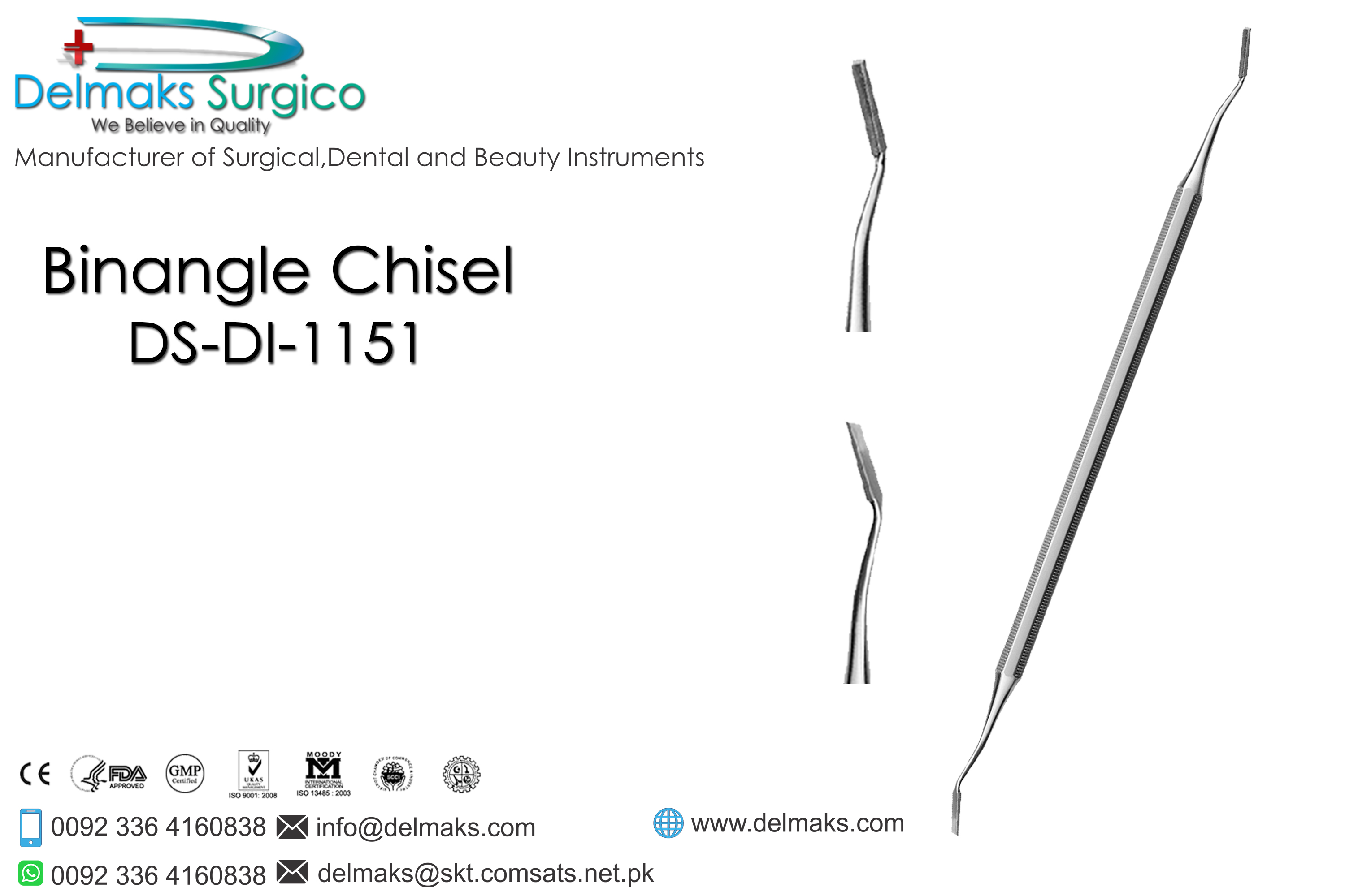 Binangle Chisel-Hand Cutting Instruments-Dental Instruments-Delmaks Surgico