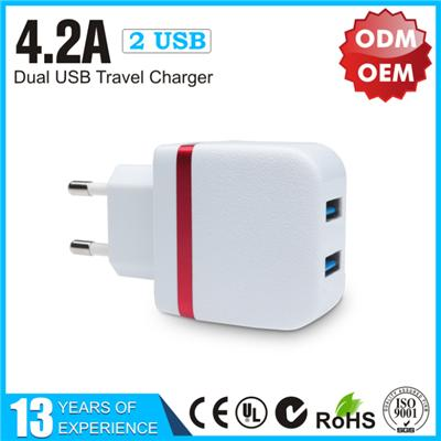 New Design Dual USB Wall Charger 4.2A Adapter Brands YLTC-332