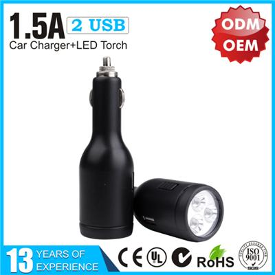 CE Certificate 1.5A Dual USB Car Charger with LED Torch