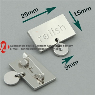 Custom Engraving Metal Label With Safety Pin