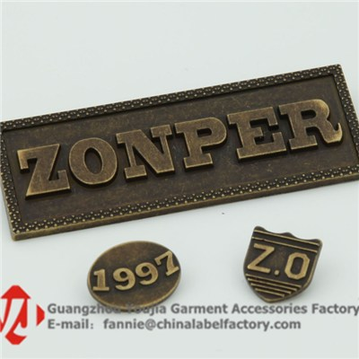 Personalised Antique Zinc Alloy Metal Labels