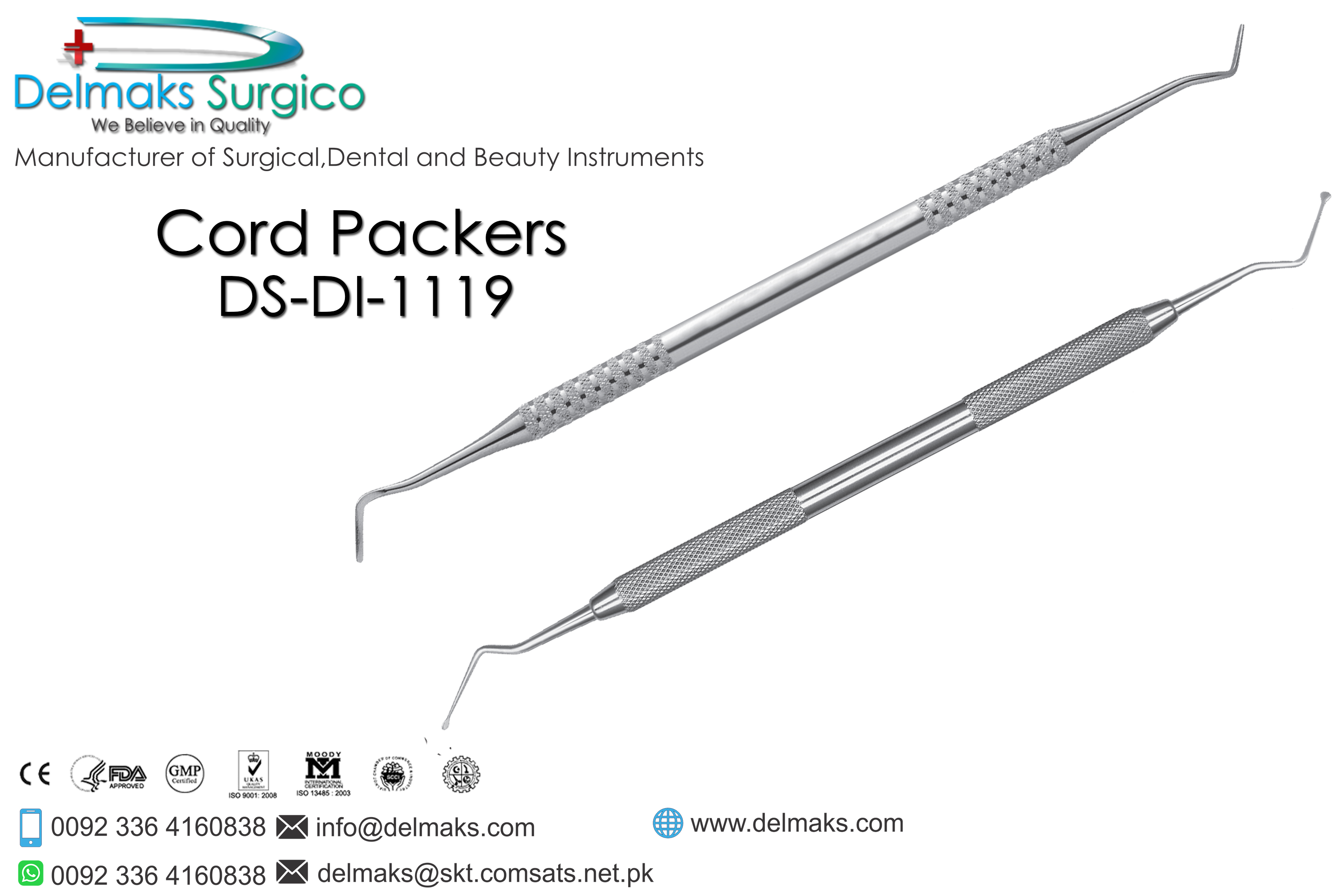 Cord Packers-Crown And Bridge(Fixed Prosthodontics) Instruments-Dental Instruments-Delmaks Surgico