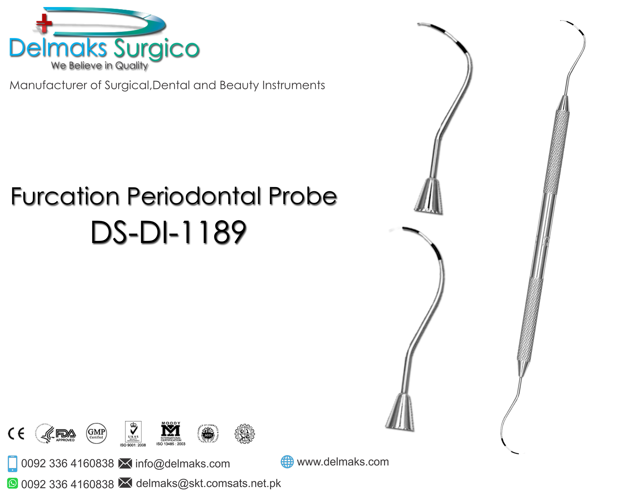 Furcation Periodontal Probe-(Hygiene and Periodontal Instruments)-Dental Instruments-Delmaks Surgico