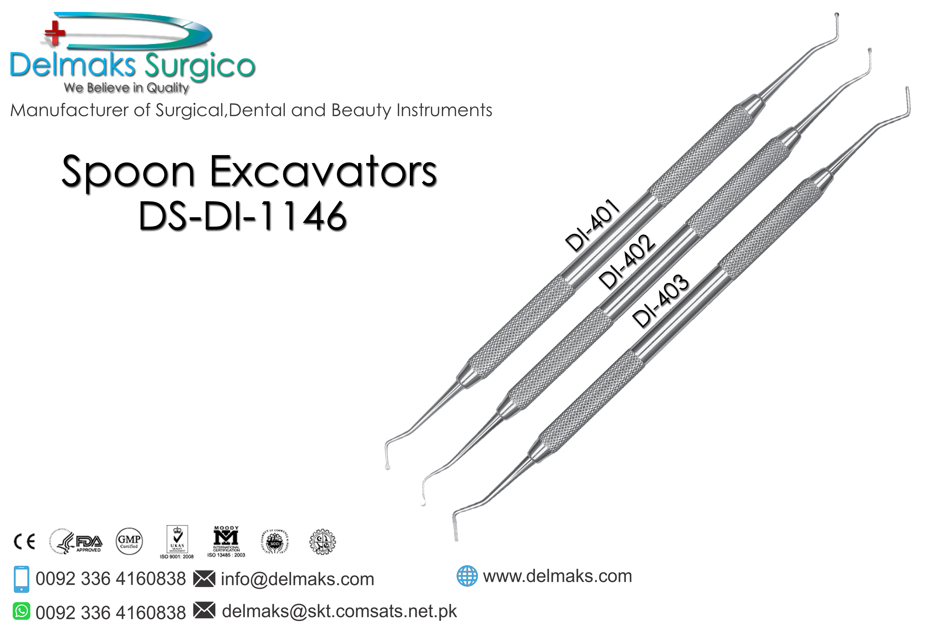 Spoon Excvators-Hand Cutting Instruments(Cavity Preperation)-Dental Instruments-Delmaks Surgico