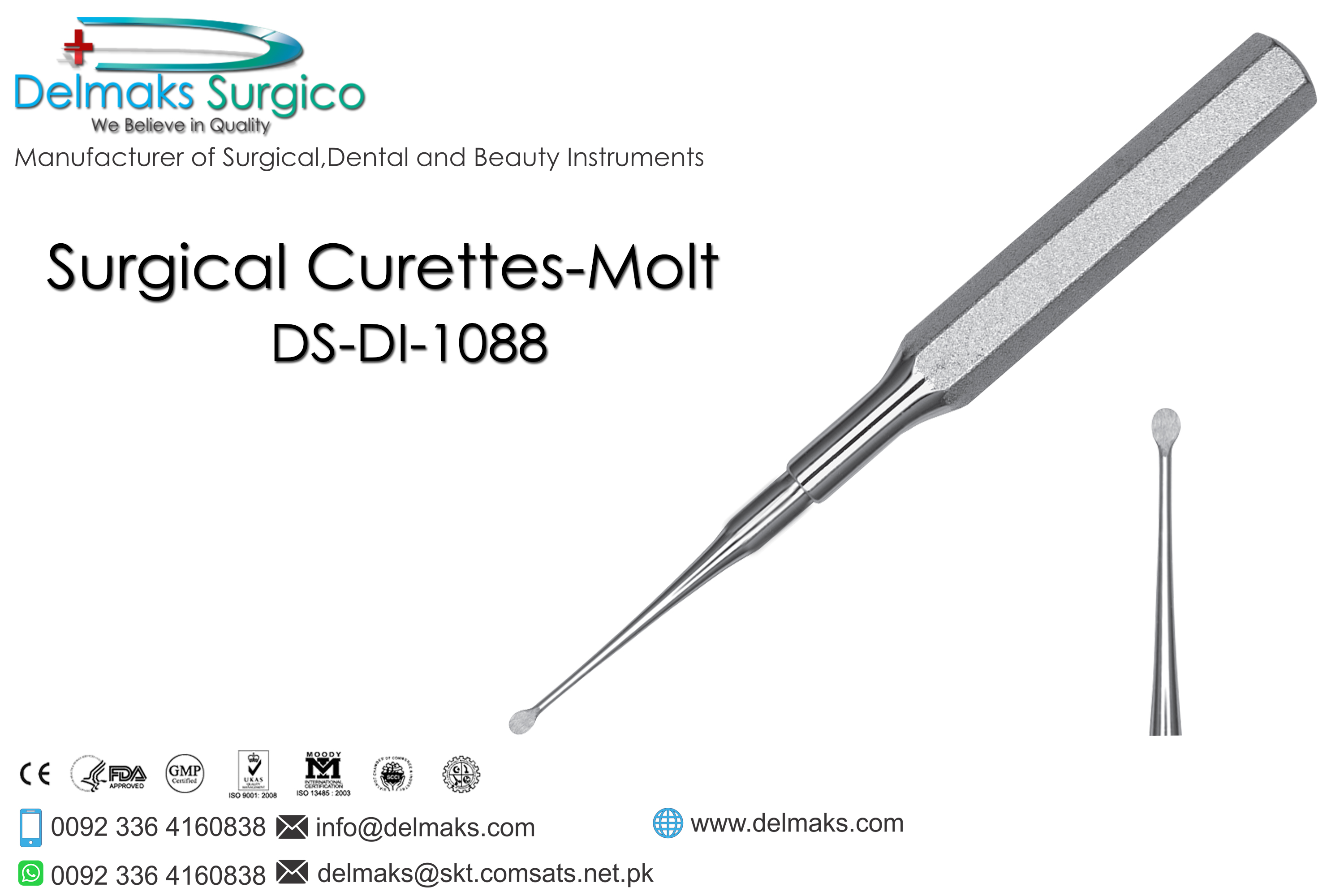 Surgical Curettes-Molt-Oral And Maxillofacial Surgery Instruments-Dental Instruments-Delmaks Surgico