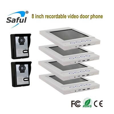 Saful TS-YP815 Recording Function 8 Inch Color Wired Video Door Intercom With IR Camera Support MAX 64G SD Card