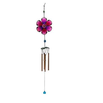 Color Flower Glass/Copper Bells/ Metal/Aeolian Bells Glass Gifts/ The Flower Chimes Outdoor Living Garden Home Décor
