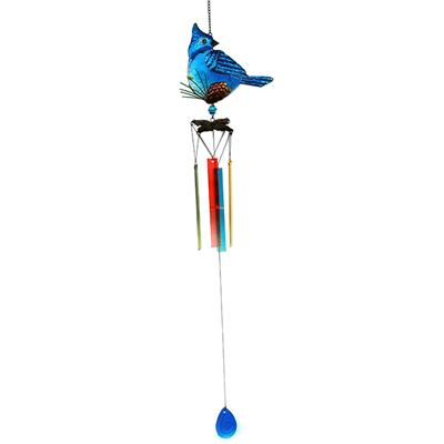 Metal Glass Birds /Owl Wind Chimes Stained Ornament Outdoor Hanging