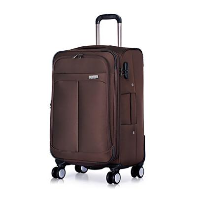 Customized Brown Nylon Luggage Bag Polyester Suitcase Set Aluminum Trolley Bag